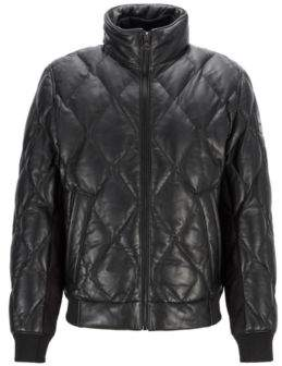 Quilted bomber jacket in olive-tanned leather