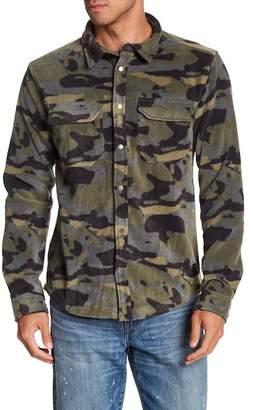 Quiksilver Front Button Camo Print Fleece Modern Fit Shirt