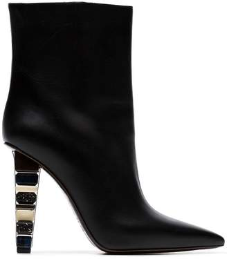 Poiret black 100 stacked heel leather ankle boots