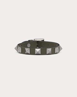 Valentino Garavani Uomo Rockstud Leather Bracelet With Ruthenium Studs Man Slate Blue Calfskin 100% OneSize