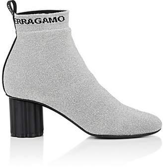 Salvatore Ferragamo Women's Flower-Heel Knit Ankle Boots - Silver