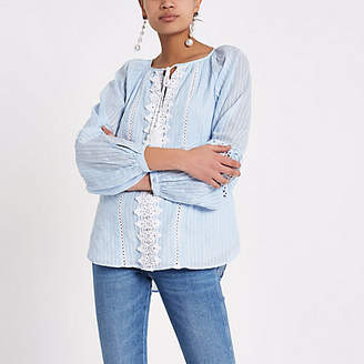 River Island Womens Blue tie lace trim long sleeve top