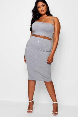 boohoo Plus Button Rib Crop + Midi Skirt Co-ord