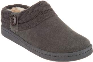 Clarks Suede Women's Slippers with Cable Knit Trim