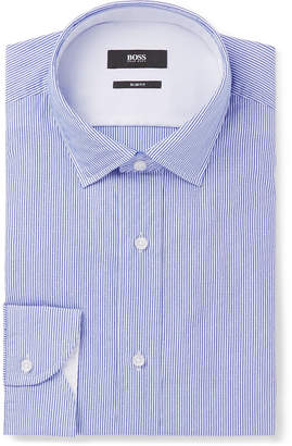 HUGO BOSS Blue Igon Slim-Fit Striped Cotton-Poplin Shirt