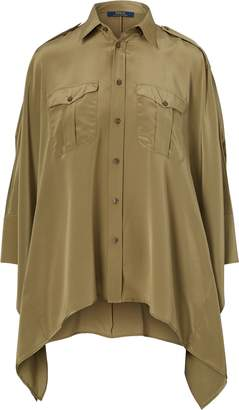 Ralph Lauren Silk Crepe Poncho-Sleeve Shirt
