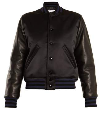 Stripe-trimmed satin and leather bomber jacket