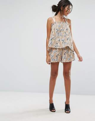 J.o.a. Shorts In Pleated Floral Print Co-Ord