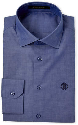 Roberto Cavalli Blue Cotton Dress Shirt