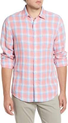 Faherty Regular Fit Plaid Linen Button-Up Sport Shirt