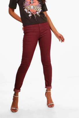 boohoo Lara Burgundy High Rise Tube Jeans