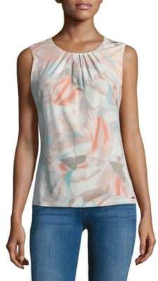 Calvin Klein Printed Pleated Blouse