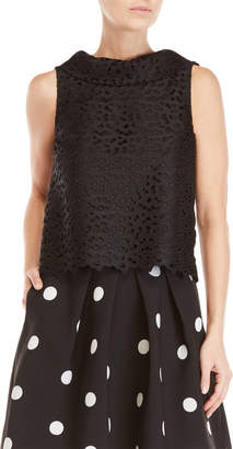 Moschino Black Eyelet Shell Top