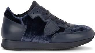 Philippe Model Tropez Blue Leather And Velvet Sneaker
