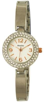 Henley Fashion with Diamante Encrusted Silver Case and Bracelet Women's Quartz Watch with Silver Dial Analogue Display and Silver Stainless Steel Plated Bracelet H07225.14