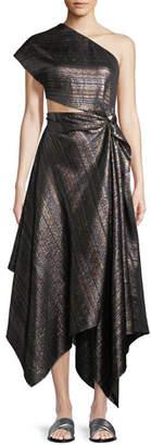 Rosetta Getty One-Shoulder Open-Side Striped-Metallic Twist Cocktail Dress