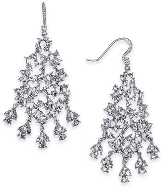 INC International Concepts I.n.c. Silver-Tone Crystal Cluster Chandelier Earrings, Created for Macy's