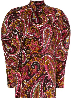 Rotate paisley pattern velvet mini dress