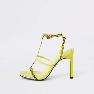 River Island Neon yellow strappy heel sandals