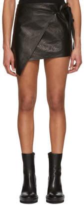 Ann Demeulemeester Black Leather Wrap Miniskirt