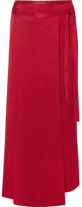 Haider Ackermann Satin Wrap Midi Skirt - Claret