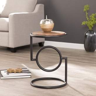 Southern Enterprises Varrio Round Accent Table w/ Mango Wood Top, Black