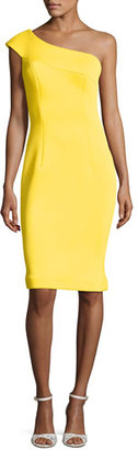 Jovani One-Shoulder Scuba Cocktail Dress, Yellow $495 thestylecure.com