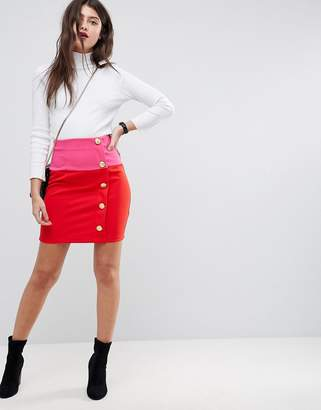 Asos DESIGN Mini Skirt in Color Block with Button Detail