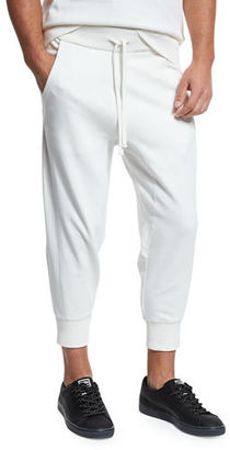 Vince Drop-Rise French Terry Cropped Jogger Pants $195 thestylecure.com