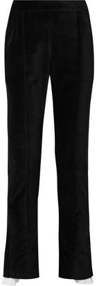 Rosie Assoulin Voile-trimmed Cotton-velvet Straight-leg Pants - Black