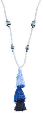 Beaded Necklace With Tri Tone Tiered Tassels