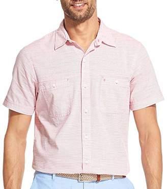 Izod Men's Saltwater Dockside Button Down Short Sleeve Solid Shirt