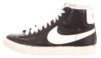 Nike Leather Round-Toe High-Top Sneakers