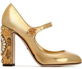 Dolce & Gabbana Vally Crystal-Embellished Mirrored-Leather Pumps