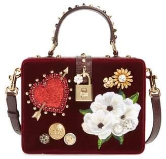 Dolce & Gabbana Heart Floral Embellished Velvet Box Bag