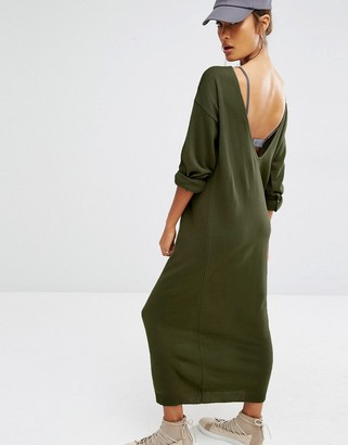 Daisy Street Relaxed Knitted Sweater Dress With Deep V Back $38 thestylecure.com