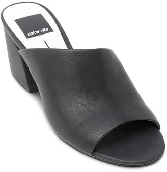 Dolce Vita Women's Juels Leather Block Heel Slide Sandals