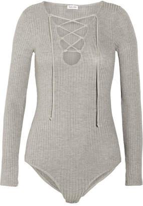 Splendid Lace-up Ribbed Strech-knit Bodysuit - Gray