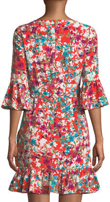 London Times Floral Koshibo Ruffled Mini Dress