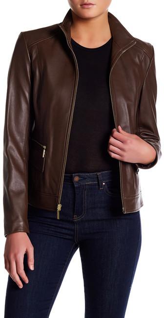 Cole Haan Cole Haan Genuine Lamb Leather Zip Jacket