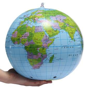 Generic 38CM Diameter Inflatable Earth World Globe Map Decoration Play on Beach Ball Geography Teaching Education Toy Fun Toy for Kids