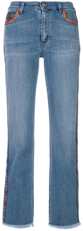 Cropped-Jeans mit Paisleystickerei