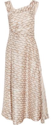 Isabel Marant - Shari Printed Hammered-silk Midi Dress - Ecru $1,130 thestylecure.com
