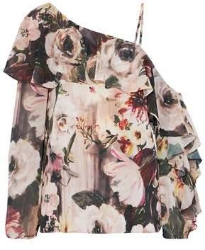 Haute Hippie One-Shoulder Ruffled Floral-Print Chiffon Blouse