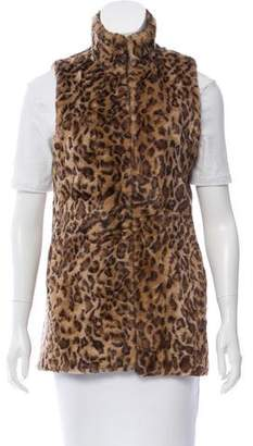 Alice + Olivia Leopard Printed Faux Fur Vest