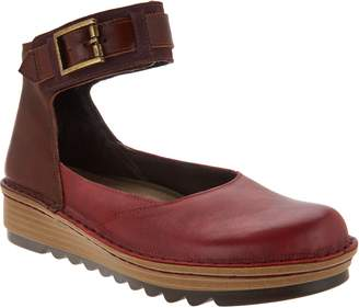 Naot Footwear Leather Colorblocked Slip-on Shoes w/ Ankle Strap - Sycamore