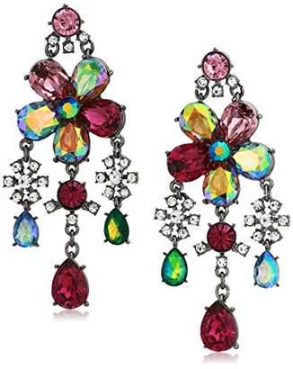 Betsey Johnson GBG) Fairy Forest Mixed Stone Flower Chandelier Earrings