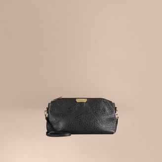 Burberry Small Embossed Check Leather Clutch Bag $995 thestylecure.com