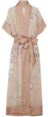 Carine Gilson Printed Silk-georgette And Silk-satin Maxi Kimono - Blush