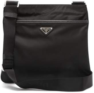 Prada Logo Messenger Bag - Mens - Black